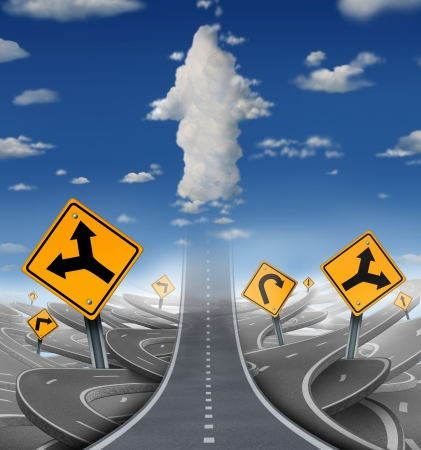 business goal: Focused determination success concept with a road or highway going forward away from a group of confusing distractions fading into the sky with clouds shaped as an upward arrow as a business symbol of financial freedom
