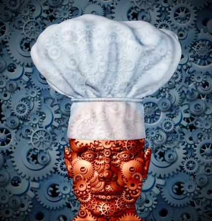 processed food: Tecnologia alimentare e la nutrizione concetto di elaborazione con un uomo come robot fatto di ingranaggi e ruote dentate che indossa un cappello da cuoco, come simbolo della cucina moderna e cucina futuro