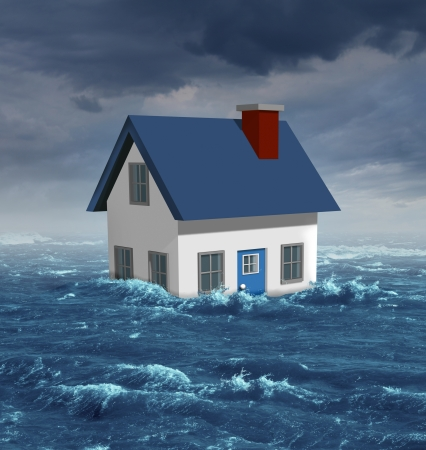 severe weather: House flood concept