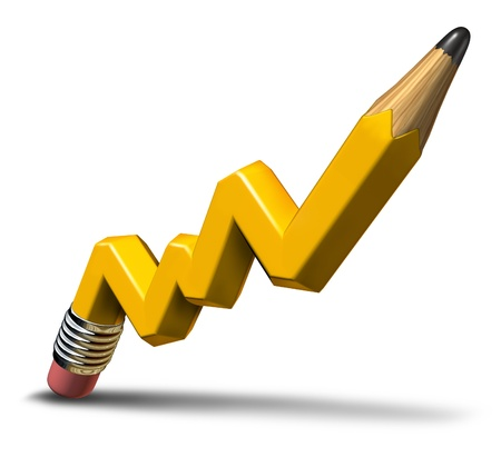 successful leadership: Planning profit and creative growth concept with a yellow wooden pencil in the shape of an  upward stock market graph representing successful leadership as a business symbol for a financial plan on a white background