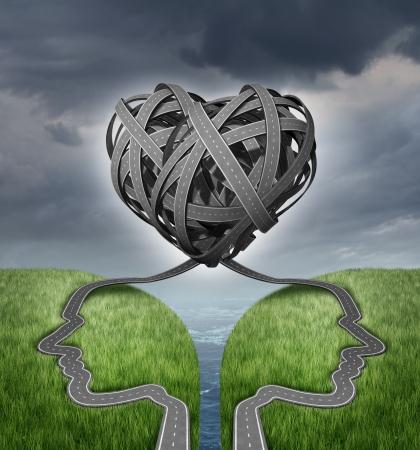 Relationship Richtung und Paar Krise als sozialen oder sexuellen Konzept für Eheberatung mit einer Gruppe von zwei verschlungenen Straßen oder Autobahnen wie menschliche Köpfe auf einer Klippe in einer Form von ein Herz geformt Standard-Bild - 20948543