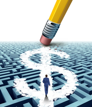 problems solutions: Wealth solutions as a businessman walking through a maze opened up by a pencil eraser that has erased a new path shaped as a dollar sign as a business concept of innovative thinking in money success