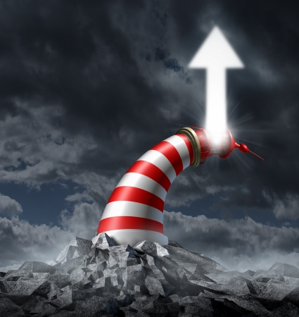 changing course: Change direction business concept with a light house on a dark storm background changing course and bending as a curved tower shinning a light arrow that is going up as a symbol of flexibility and success guidance in adversity