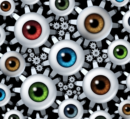 Connected vision network business concept with a group of human eye balls shaped as gear wheels and cogs connecting together in a team partnership combining ideas to form a strong goal oriented organization for success Stock Photo - 21100564