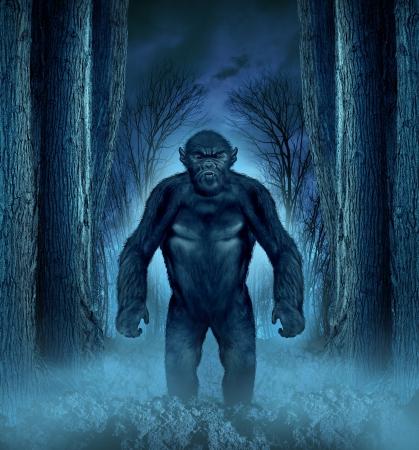 Concepto de monstruo del bosque con un hombre lobo que acecha como una criatura Bigfoot que sale de un fondo de miedo oscuro con un resplandor de la luna detrás de ella como un símbolo de horror de Halloween haunted maderas animales