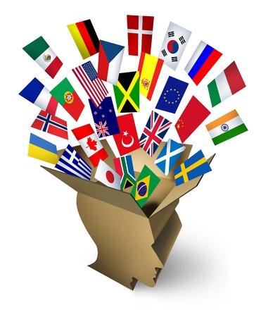 negocios internacionales: Soluciones de transporte global y el concepto de la entrega con una caja de cart�n paquete abierto en forma de una cabeza humana con las banderas del mundo fluyen hacia fuera como un icono de la estrategia de transporte y flete de los negocios y el comercio internacional