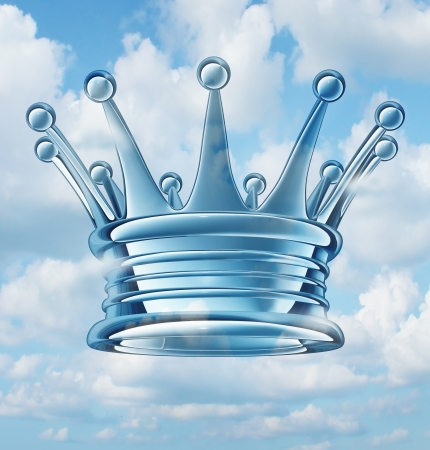 Leadership aspirations business concept and metaphor with a royal king crown floating in the sky as a success symbol of religion and faith in a leader of ideas and leading visionary providing guidance to a group of faithful followers  Stock Photo - 21100479