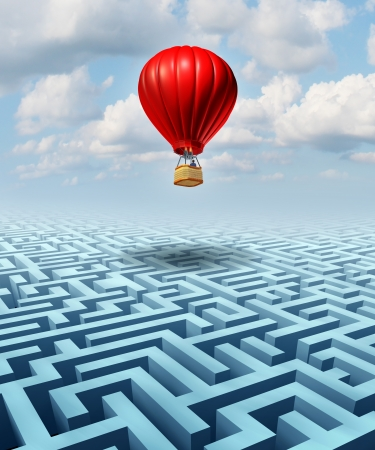 Rise above the challenges of business and life concept with a red hot air balloon with a businessman inside flying over a confusing maze or labyrinth puzzle as a metaphor for conquering adversity success with leadership