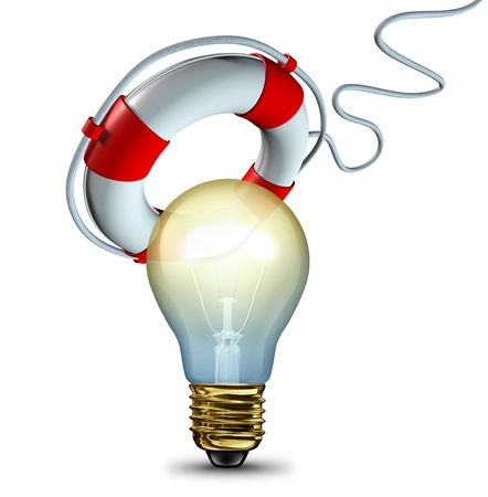saver: Saving your idea and protecting innovative thoughts with a light bulb being saved or rescued by a life saver as a symbol of data rescue or information backup and retreiving important files as a technology icon  Stock Photo