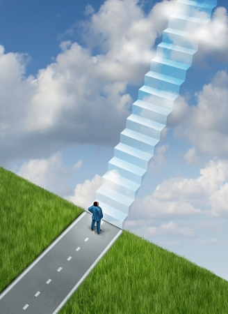 Success plan business concept with a businessman at the end of the road on the edge of a cliff using his vision and leadership skills to imagine the future successful path of opportunity as a staircase of going up to heaven