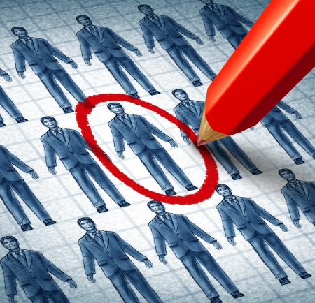 employment issues: Career search and job searching hiring the right candidate as an employment concept with drawings of businessmen in a network and a red pencil selecting the most qualified leader as a symbol of internet recruitment services