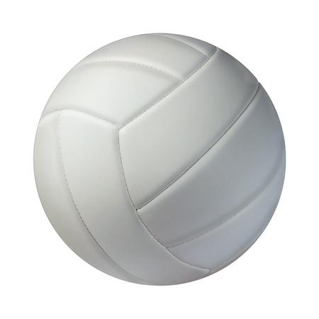ballon volley: Volley-ball isol� sur un fond blanc comme un symbole des sports et de remise en forme d'une activit� de loisir �quipe joue avec un ballon en cuir servant une vol�e et un rassemblement dans les tournois de la concurrence Banque d'images