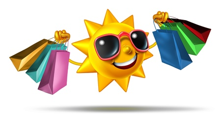 Summer shopping and buying fashion and gifts on vacation or during holidays as a bright sun character holding store bags as a concept and symbol of retail business and fun consumer leisure activity on white  Stock Photo - 21100584