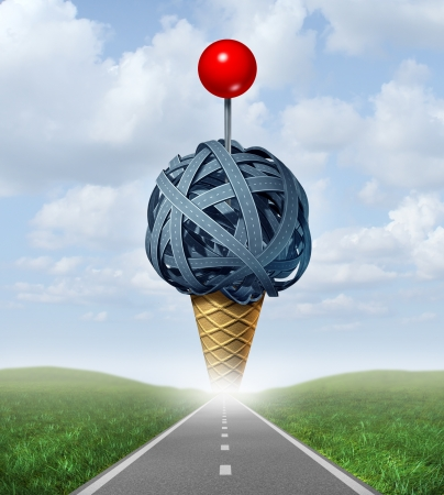 Summer destination choice concept with a road leading to a group of streets and highways shaped as an ice cream cone with a red location push pin as a cherry on top on a sky as an icon of hot holiday travel and vacations  photo