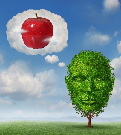business metaphore: Big ideas business concept with a tree shaped as a human head dreaming and imagining a red apple in a dream bubble made of clouds as a metaphore for planning future profit and fruitful growth success