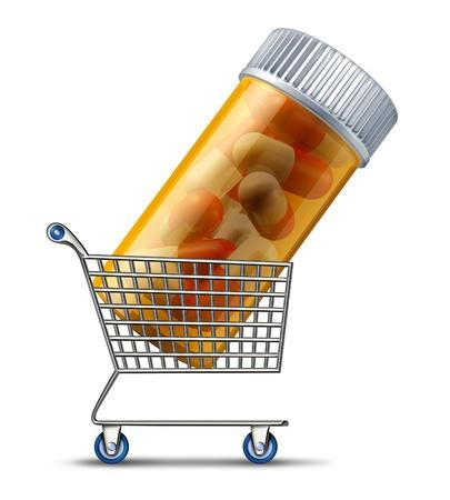 drogue: L'achat de m�dicaments d'une pharmacie ou d'un concept de m�dicaments d�taillant en ligne avec un centre commercial transportant une bouteille de pilules sur ordonnance comme un symbole de choisir le meilleur choix et l'industrie pharmaceutique ou d'un march� public d'assurance m�dicaments panier Banque d'images