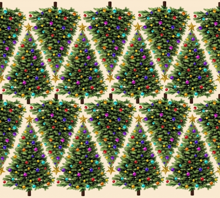 Christmas tree pattern with ornaments and a gold stars as a seamless border design for the winter holiday season as a holiday celebtration design element  photo