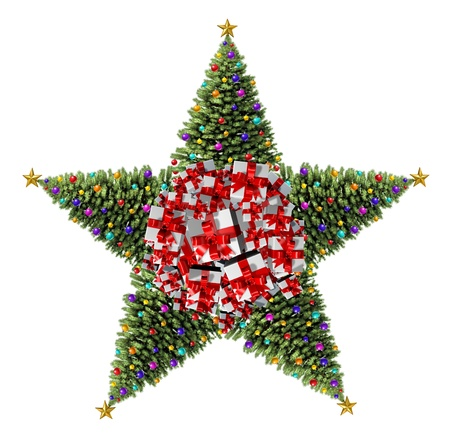 Christmas tree star concept as a group of decorated Christmas trees with natural green pine and ornate decorative balls and gifts with red ribbons and bows as a seasonal symbol of winter celebration and festive new year on a white background Stock Photo - 21490990