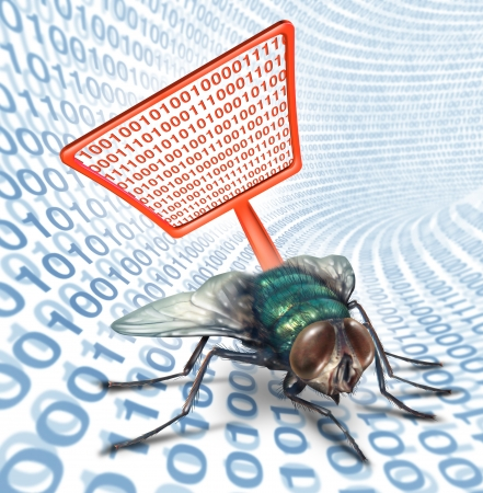 virus protection: Computer bug security service as a high technology concept for digital data protection with a red fly swatter killing a bug on a binary code background as scanning for viruses on electronic devices  Stock Photo