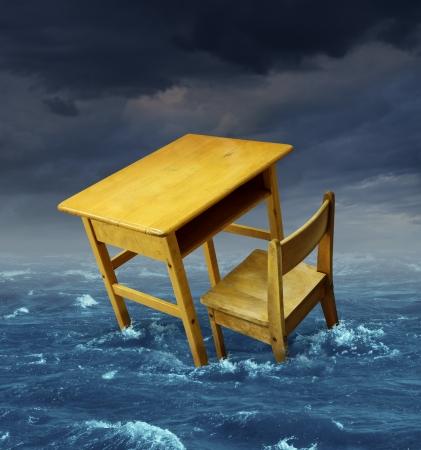 underprivileged: Problemi concetto di educazione con un vecchio banco di scuola annegamento in acqua durante un temporale come simbolo di scolarizzazione inaccessibile e sfide di finanziamento per l'apprendimento speciale e programmi di alfabetizzazione per studenti poveri bisognosi