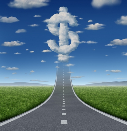 Fortune road business concept and financial freedom symbol with a straight road or highway going up to a group of clouds shaped as a dollar sign as an icon of making money for prosperity  Foto de archivo