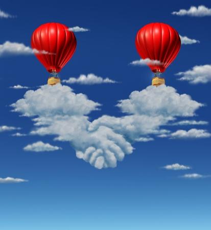 2 赤い気球に一緒に来てとの大きな契約の金融シンボルとして、手ふれやハンドシェイクとして形作られている雲のグループの上を飛んでいるビジネ