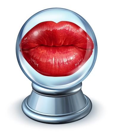 Love astrology concept with red woman lips in a crystal ball as a symbol of dating horoscope and predicting romantic future relationships using signs from the zodiac to forecast partner compatibility  photo