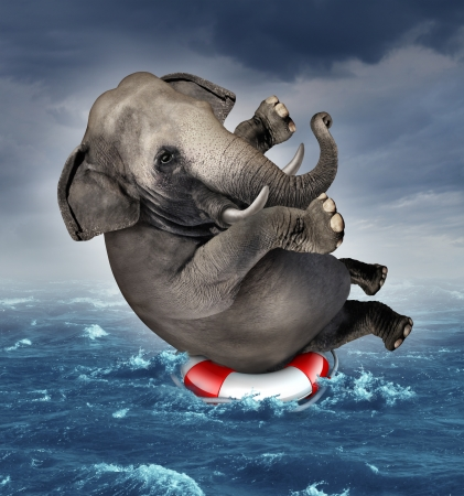 overcoming: Sobrevivir a la adversidad y la gestión del riesgo para los grandes retos empresariales y la incertidumbre con un elefante grande flotando en un salvavidas en un mar de fondo tormenta superar el miedo de la pérdida para el éxito objetivo