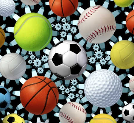 scores: Sports business concept and sporting industry with a group of sport balls as soccer basketball baseball volleyball golf tennis and volleyball connected by a network of gears and cogs as a symbol of entertainment and media