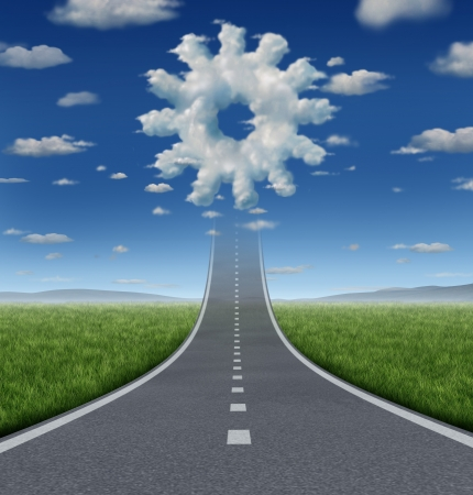 Business aspirations success concept with a road or highway going forward fading into the sky with a group of clouds shaped as a gear or cog wheel as an industry symbol of working freedom and innovation