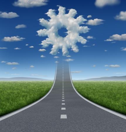 ascending: Aspiraciones de negocios concepto de �xito con una carretera o autopista en el futuro desvaneciendo en el cielo con un grupo de nubes en forma de un engranaje o rueda dentada como un s�mbolo de la industria de la libertad de trabajo y la innovaci�n Foto de archivo