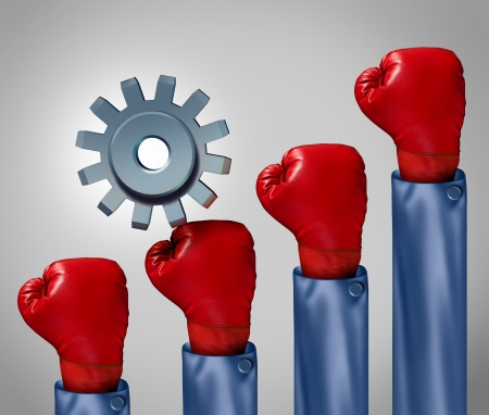 Competitive climb and overcoming adversity business concept and symbol for conquering challenges as a single gear or cog climbing a rising group of red boxing gloves representing competition