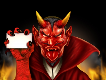Devil holding a blank sign as a red demon halloween monster character with a devilish evil grin wearing a cape as a spooky concept with a communicating horned beast creature  photo