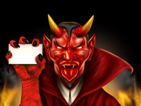 satanas: Diablo con un cartel en blanco como un demonio personaje monstruo rojo de Halloween con una sonrisa diabólica del mal que lleva un cabo como un concepto fantasmagórico con una criatura bestia con cuernos comunicación Foto de archivo