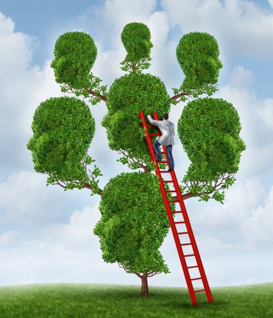 health care concept: Family therapy and group health care concept with a tree shaped as a group of human heads with a medical doctor psychologist or psychiatrist on a ladder fixing relationship problems  Stock Photo