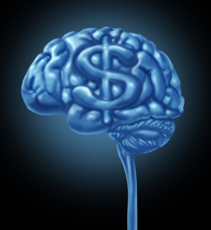 frugal: Financial brain business concept with a human thinking organ and a dollar symbol integrated in the gray matter as an icon of thinking of a strategy to make and save money and intelligent budget management and planning