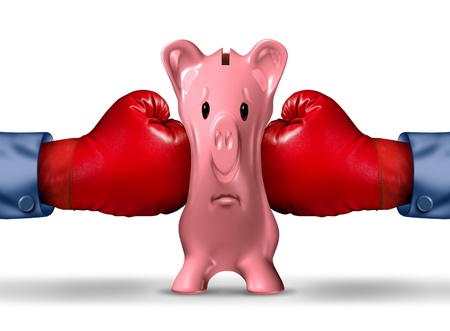 budget crisis: Financial money pressure and money crunch business concept with two red boxing gloves putting the squeeze on a pink piggy bank under a finance crisis pressure as an icon of savings and budget problems