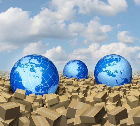Global cargo and Shipping business concept as a worldwide trade and delivery transport courier service with a group of spheres representing the world  markets floating or drowning in a sea and ocean of cardboard boxes  photo