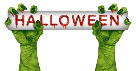 monster movie: Halloween zombie sign with green monster hands dripping in blood holding a sign card as a creepy or scary symbol with wrinkled creature fingers and stitches isolated on a white background