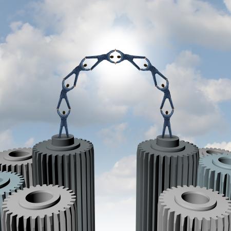 sinergia: Grupo Liderazgo puente como un negocio la construcci�n de una red con un equipo de hombres de negocios de pie en el engranaje y los iconos de las ruedas dentadas trabajando juntos en una asociaci�n de apoyo fuerte reducci�n de la brecha de conectar para el �xito Foto de archivo