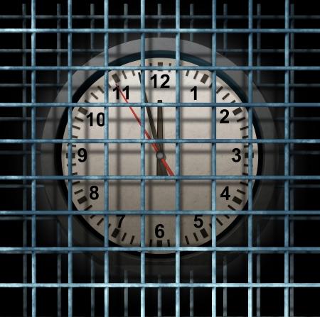 eventos especiales: Bloqueado concepto de negocio previsto y cumpliendo condena en la c�rcel con un reloj de tiempo limitado de distancia en la c�rcel como un s�mbolo de la gesti�n de horarios y la fijaci�n de fechas para los eventos especiales durante los meses o a�os Foto de archivo