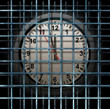 confined: Locked schedule business concept and doing time behind bars with a time clock confined away in prison as a symbol of schedule management and locking in dates for special events during the months or years
