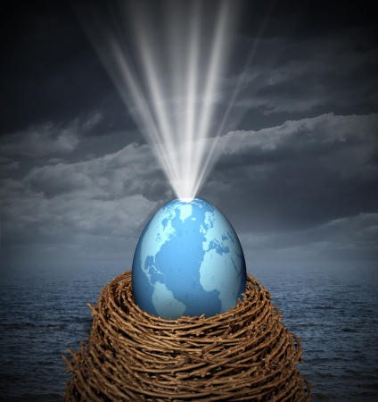 New world business concept with a glowing global egg symbol resting on a nest surrounded by the risk of severe weather as an icon of hope and development of new international trade opportunities Stock Photo - 21492083
