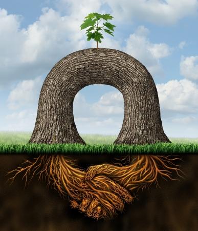 Partnerschaft Macht Business-Konzept mit zwei Bäumen mit vereinten Kräften zusammen, um eine neue Wachstumschance mit den Wurzeln der Pflanze als Symbol der Händeschütteln im Einvernehmen nach einem Vertrag zu erstellen Standard-Bild