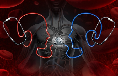 coming together: Second Medical opinion as a health care concept with a group of stethoscopes in the shape of a doctor head coming together to diagnose a human heart as an icon of consulting and confirming a physical illness or condition  Stock Photo