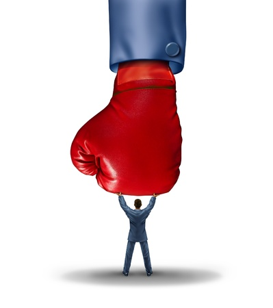 conquering adversity: Stop the competition business concept with a huge red boxing glove coming down but a businessman is holding it up as a symbol of strong leadership skills conquering adversity