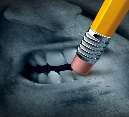 Anger management geestelijke gezondheid concept met de uitdrukking van een boze persoon met woede kwesties worden behandeld en het beheer van het probleem met psychologische hulp als een potlood het wissen van de gevoelens