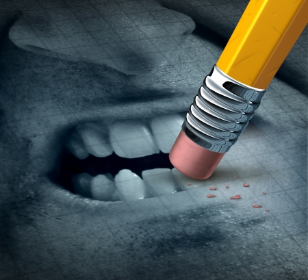 Anger management mental health concept with the expression of an angry person with rage issues being treated and managing the problem with psychological help as a pencil erasing the feelings Stock Photo - 21492089