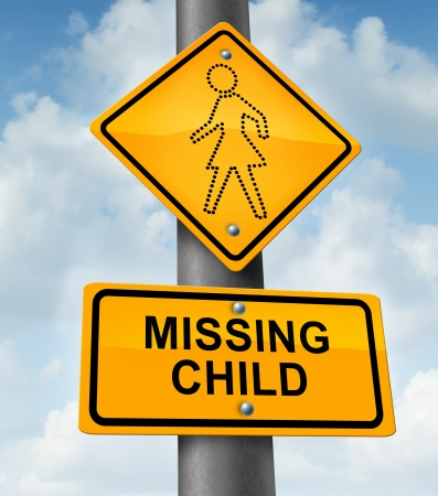exploited: Child missing concept with a yellow school crossing traffic warning sign with a dotted figure of a little girl as a symbol of children losing their childhood as being lost in a failed adoption or despair due to abduction
