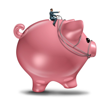 budget: Financial management and wealth consulting business concept as a businessman on a piggy bank  wearing a harness riding and controlling the budget direction of savings and invested money for future wealth success  Stock Photo
